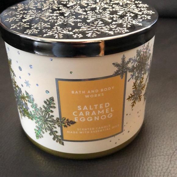 Bath & body works Salted Caramel Eggnog 3-wick